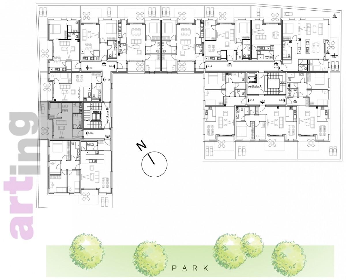 Stan B-1-2a - Raspored stanova na katu